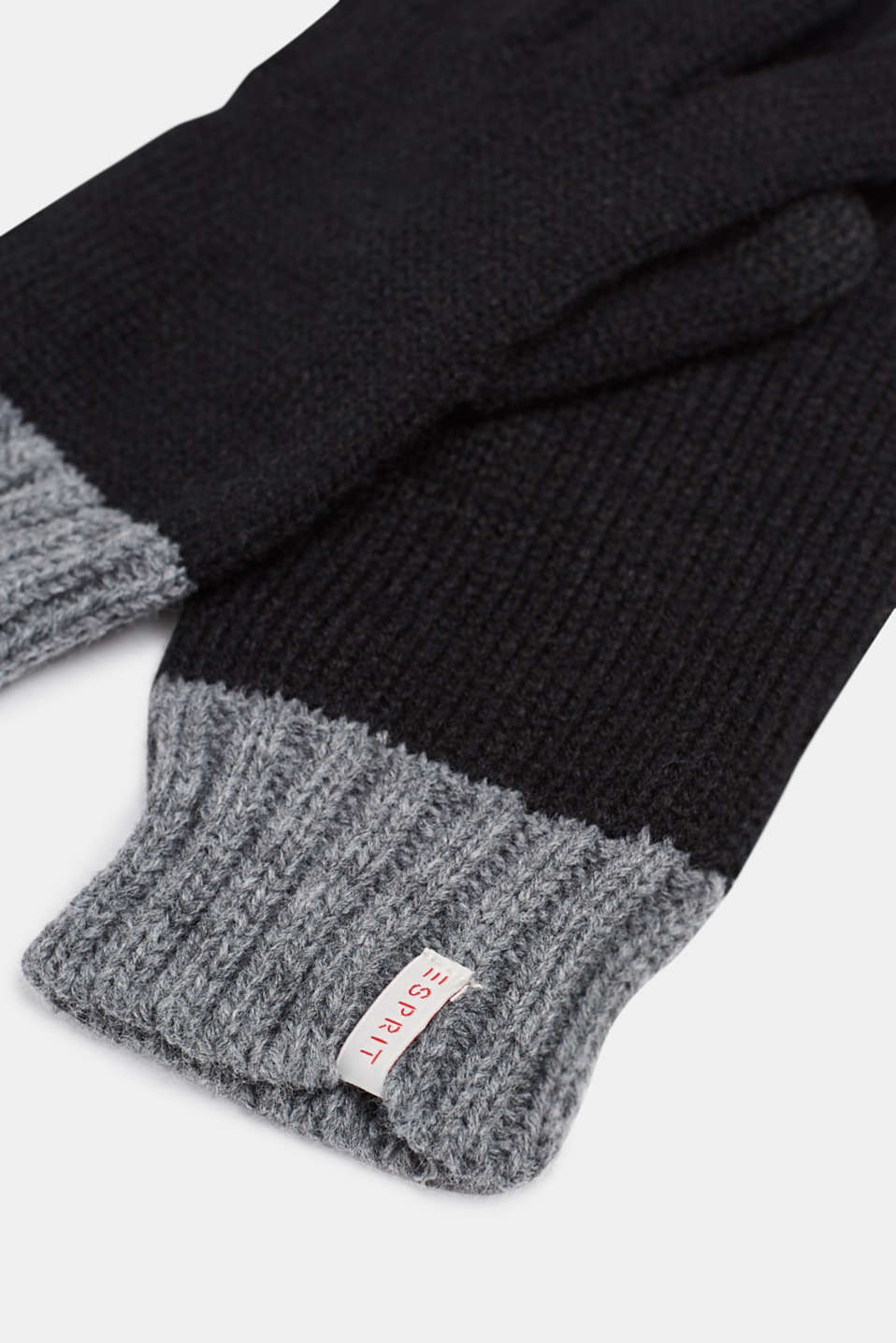 Knitted touchscreen gloves, LCBLACK, detail image number 1