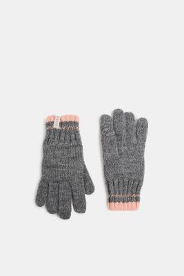 Knit gloves with a glittering effect, DARK HEATHER G, detail