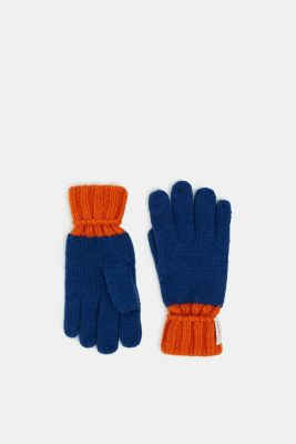 Gloves knit in soft yarn, indigo, detail