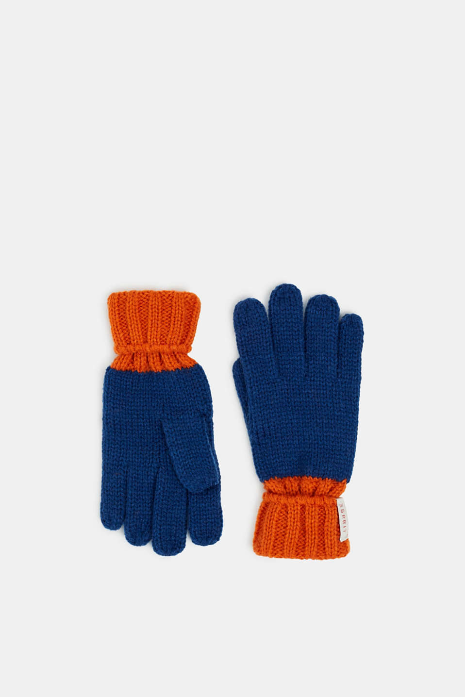 Gloves knit in soft yarn, indigo, detail image number 0