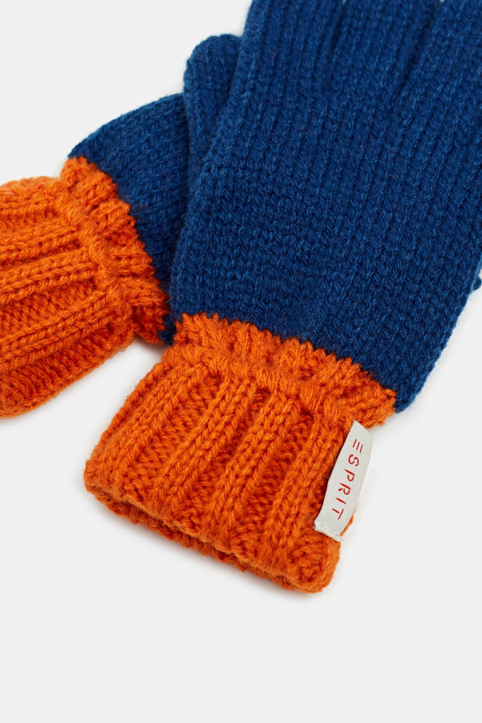 Gloves knit in soft yarn, indigo, detail image number 1