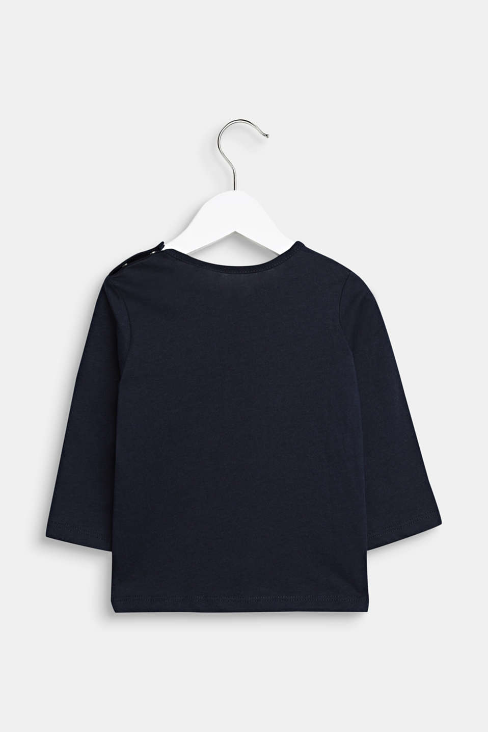 Long sleeve top with a happy print, 100% cotton, LCMIDNIGHT BLUE, detail image number 1