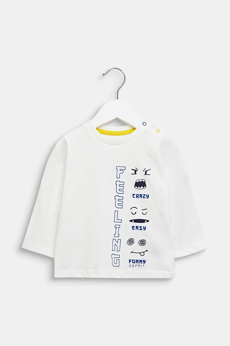 Printed long sleeve top, 100% cotton, LCOFF WHITE, detail image number 0