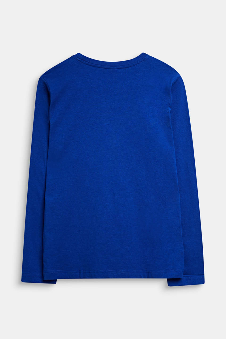 Printed long sleeve top in 100% cotton, LCINFINITY BLUE, detail image number 1