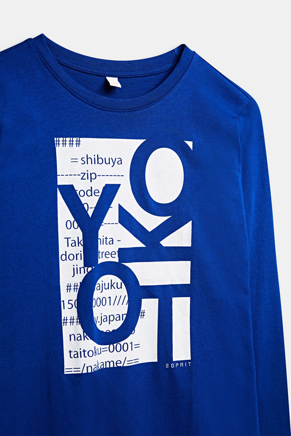 Printed long sleeve top in 100% cotton, LCINFINITY BLUE, detail image number 2