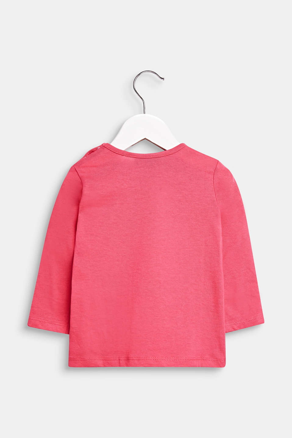 Long sleeve top with a heart print, 100% cotton, LCCANDY PINK, detail image number 1