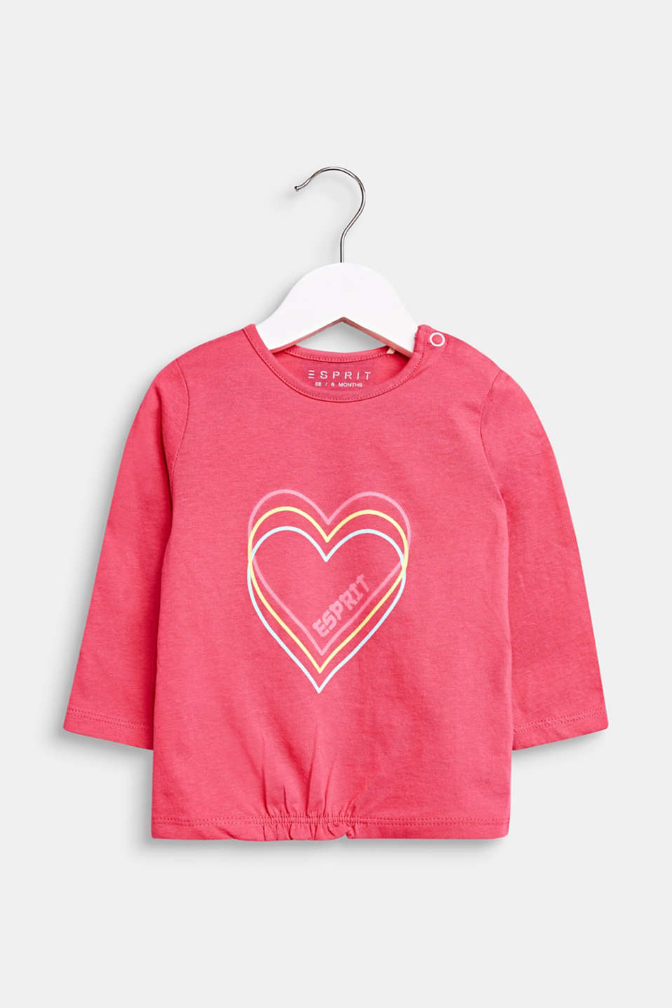 Long sleeve top with a heart print, 100% cotton, LCCANDY PINK, detail image number 0