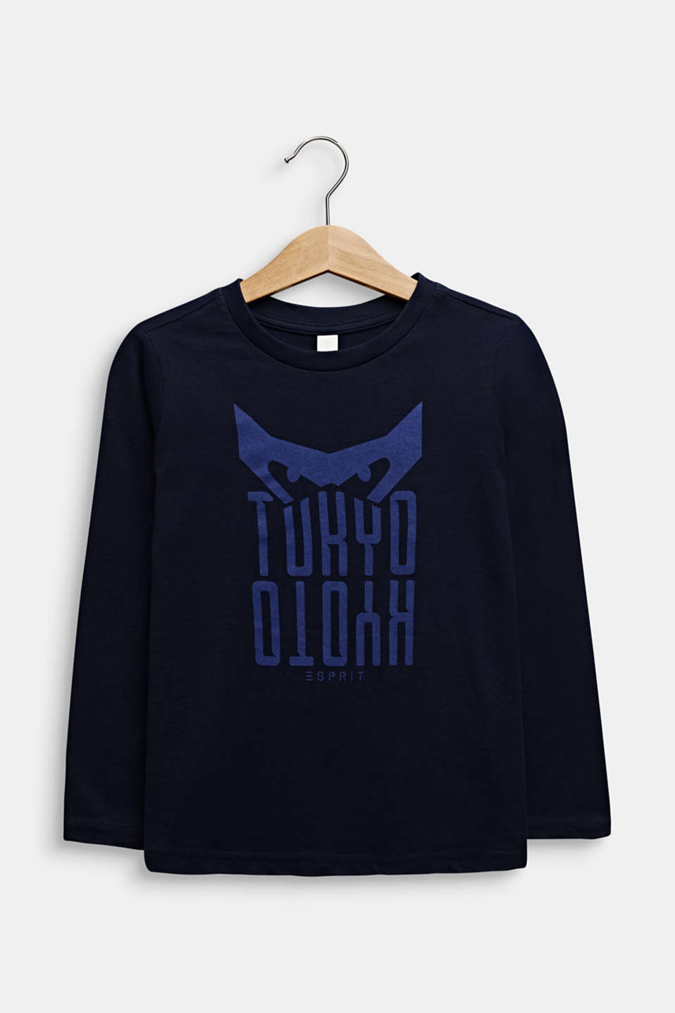 Printed long sleeve top, 100% cotton, MIDNIGHT BLUE, detail image number 0