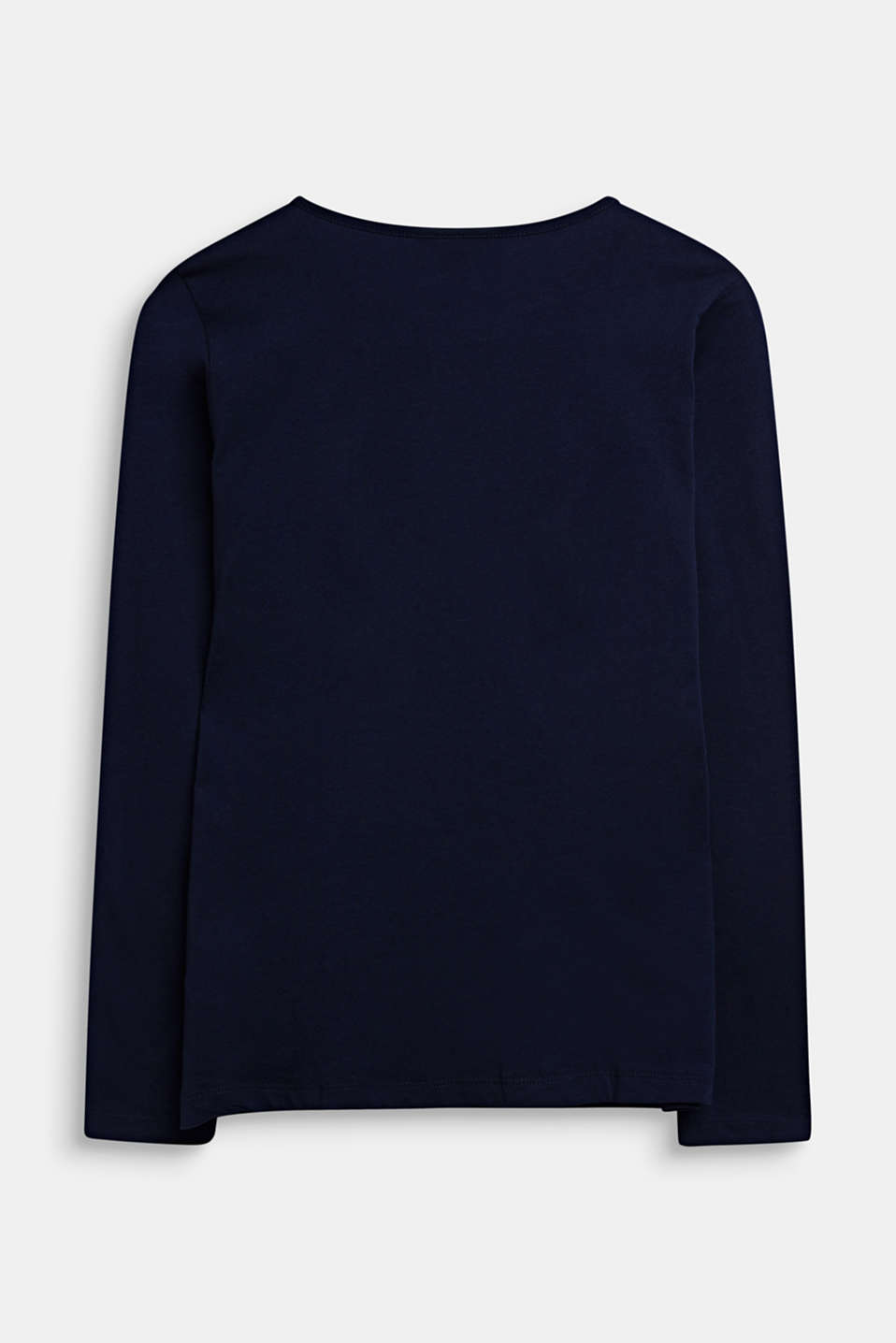 Long sleeve top with a heart print, 100% cotton, LCMIDNIGHT BLUE, detail image number 1