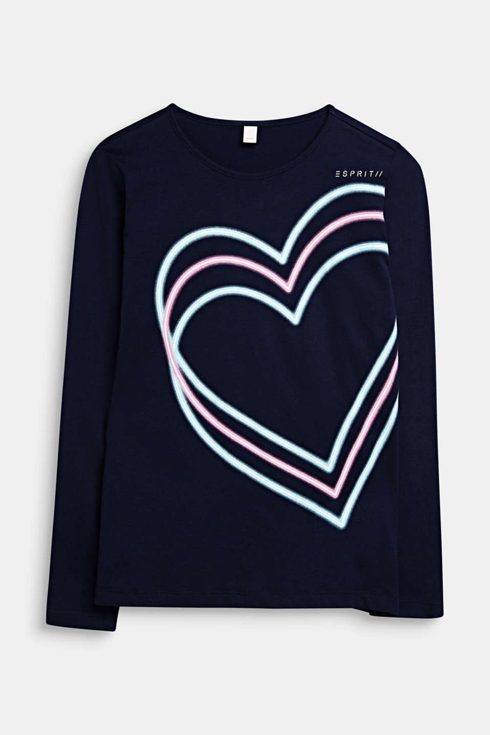 Long sleeve top with a heart print, 100% cotton