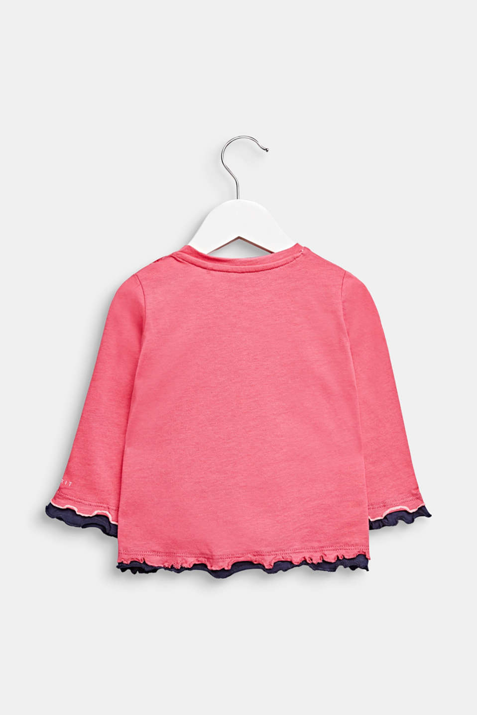 Frilled long sleeve top with a cat print, cotton, LCCANDY PINK, detail image number 1