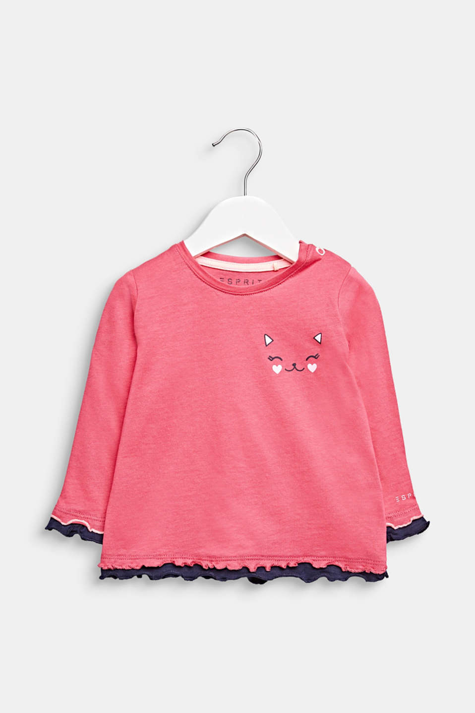 Frilled long sleeve top with a cat print, cotton, LCCANDY PINK, detail image number 0