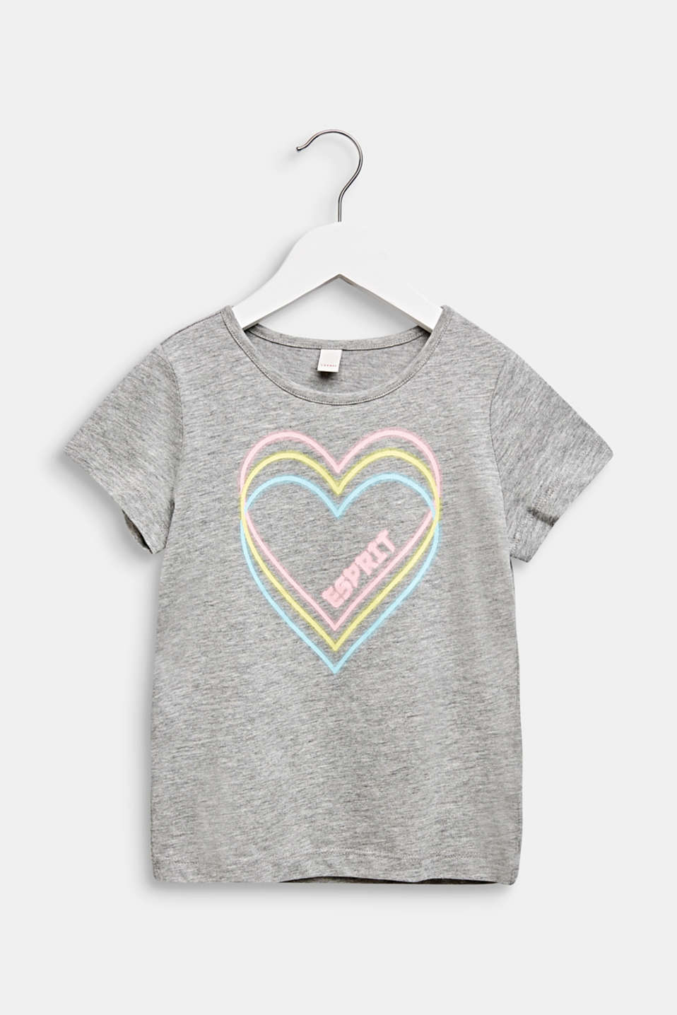 T-shirt with heart print, MID HEATHER GR, detail image number 0