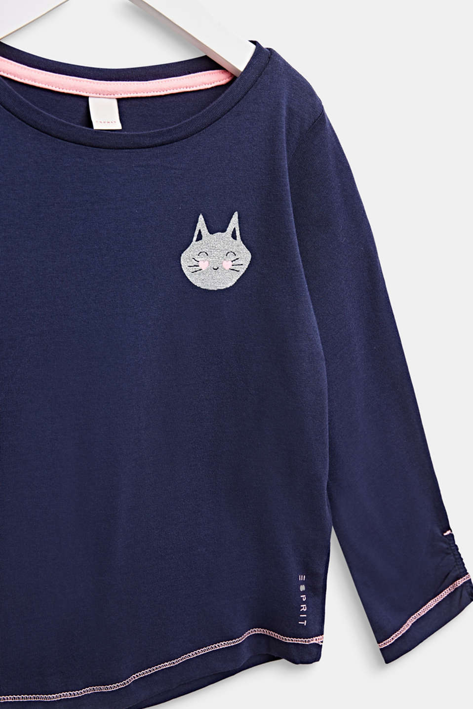 Long sleeve T-shirt with glitter print this, 100% cotton, MIDNIGHT BLUE, detail image number 2