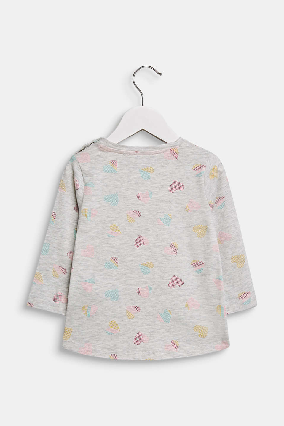 Stretch long sleeve top with a heart print, LCLIGHT HEATHER, detail image number 1