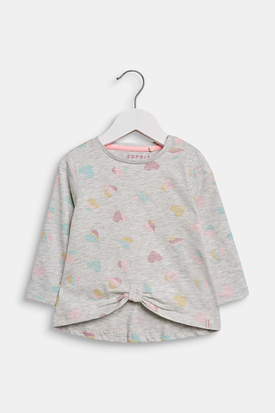 Stretch long sleeve top with a heart print, LCLIGHT HEATHER, detail image number 0