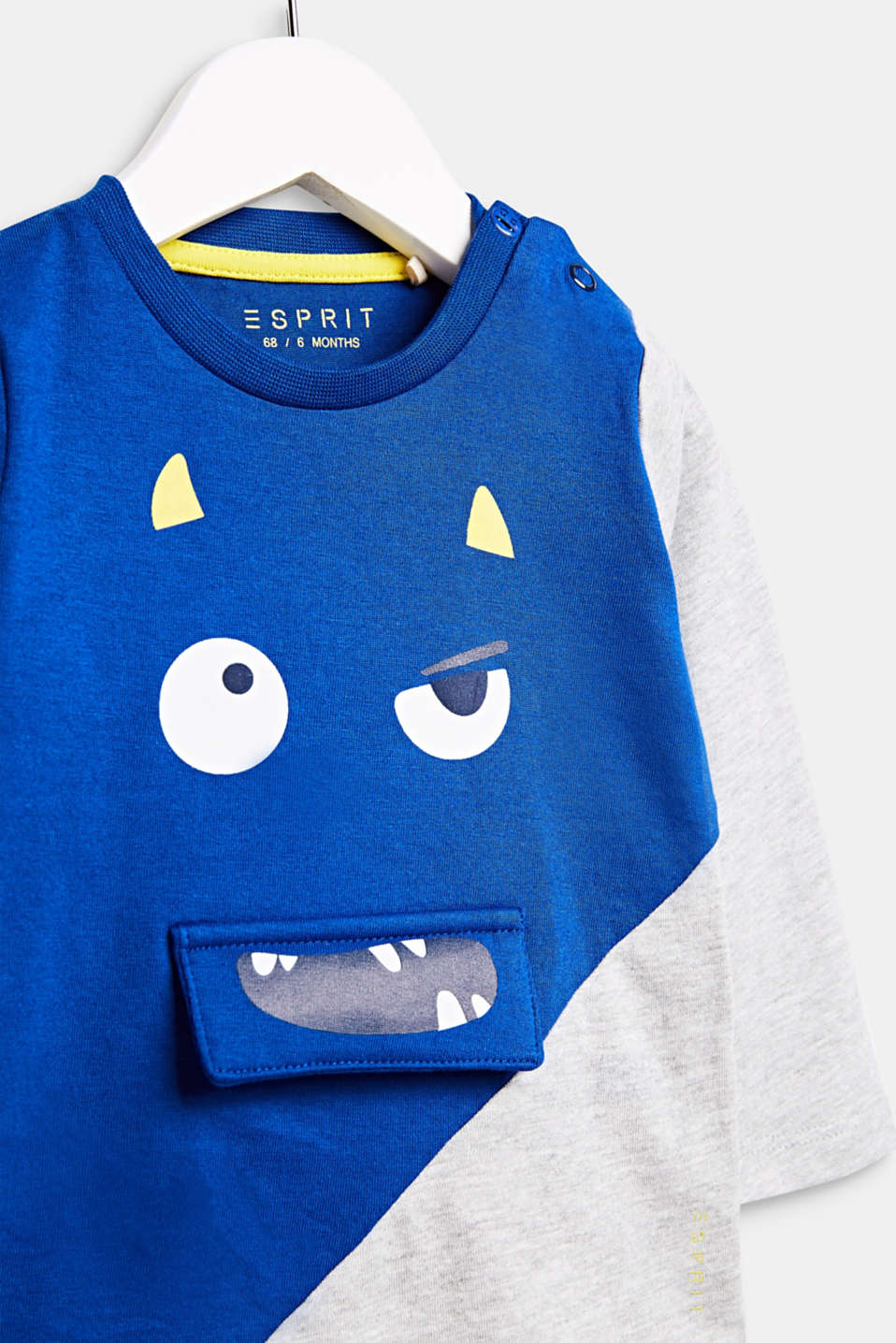Long sleeve top with a monster face, LCINFINITY BLUE, detail image number 2