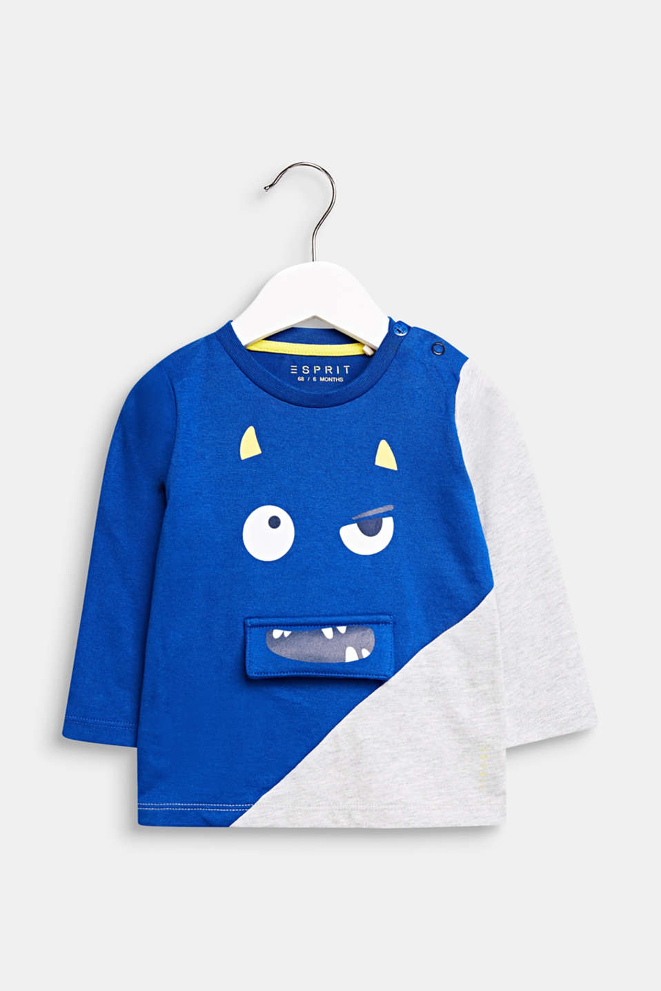 Long sleeve top with a monster face, LCINFINITY BLUE, detail image number 0