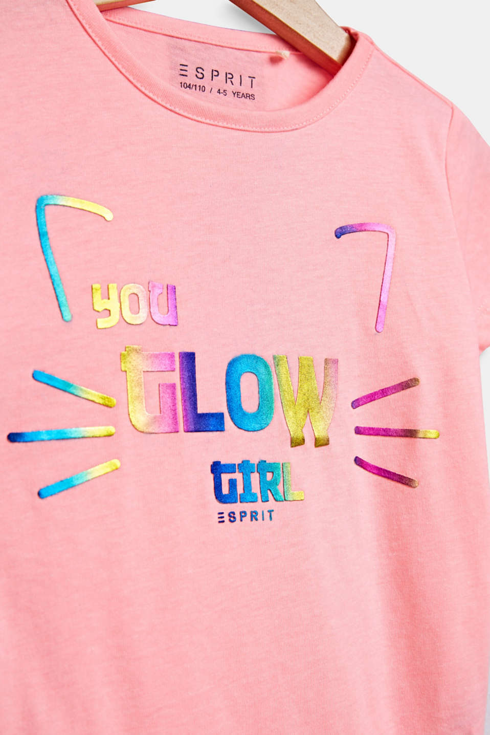 T-shirt with a colourful shiny print, NEON PINK, detail image number 2