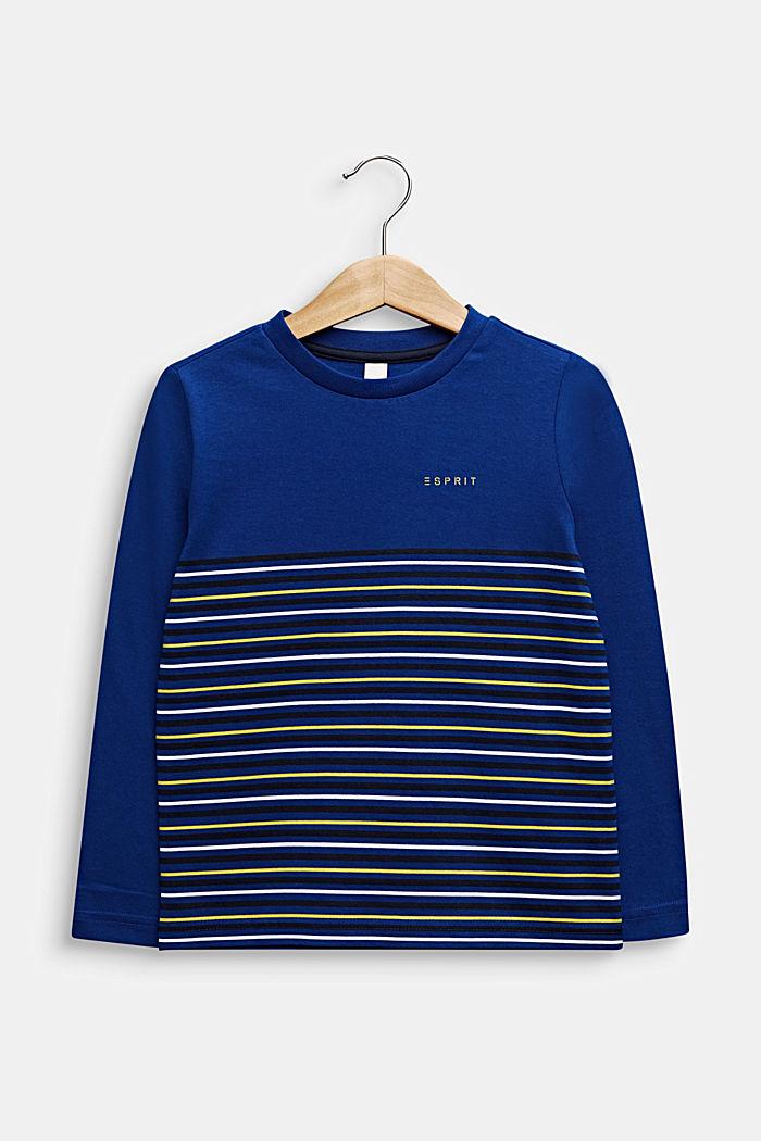 Longlseeve mit Streifen, 100% Baumwolle, INFINITY BLUE, detail image number 0