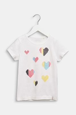 T-shirt with glitter print, 100% cotton, OFF WHITE, detail