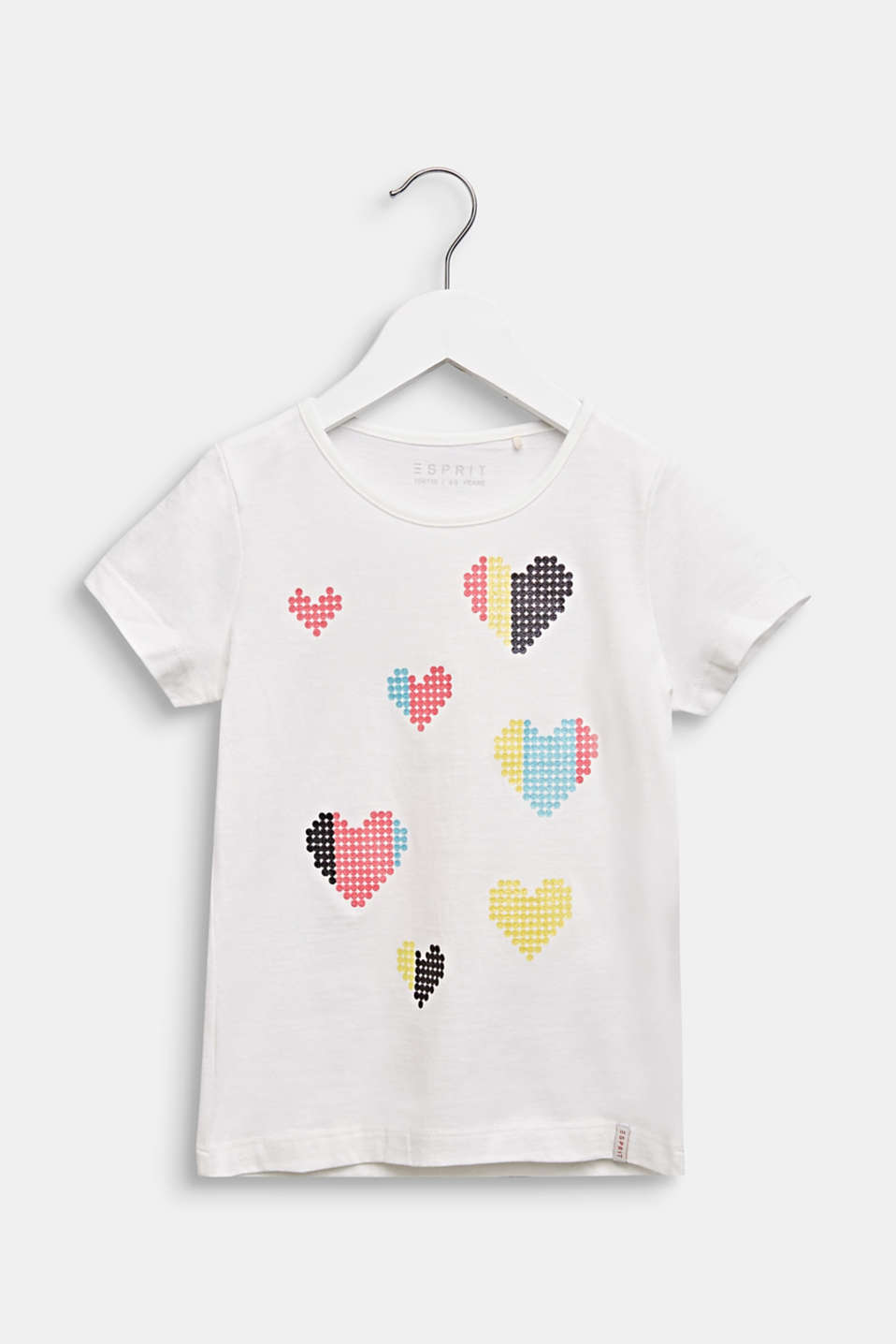 T-shirt with glitter print, 100% cotton, OFF WHITE, detail image number 0