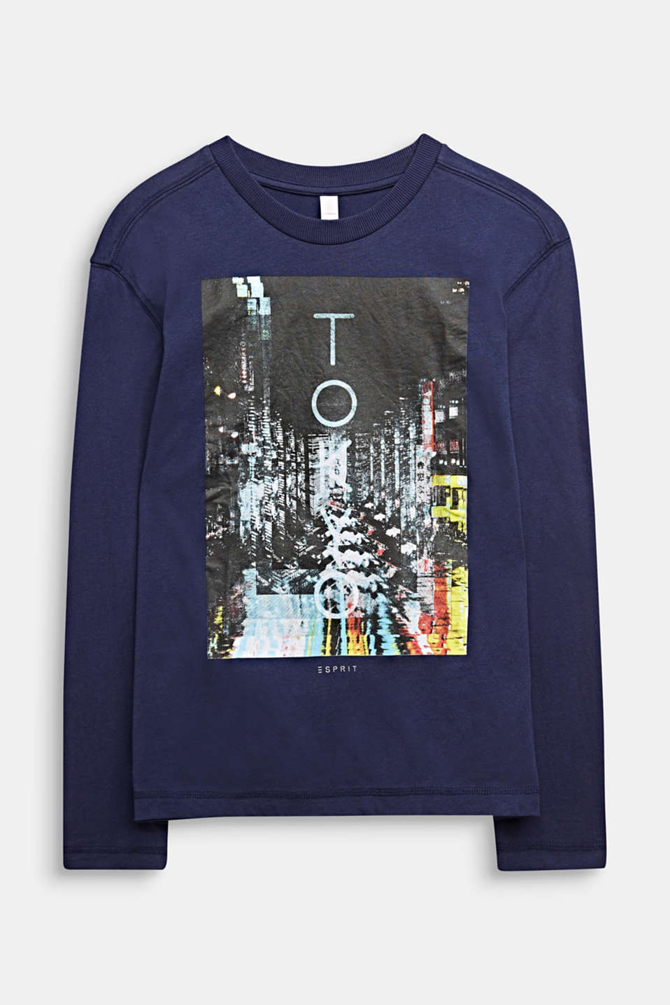 Long sleeve top with a photo print, 100% cotton , LCMIDNIGHT BLUE, detail image number 0