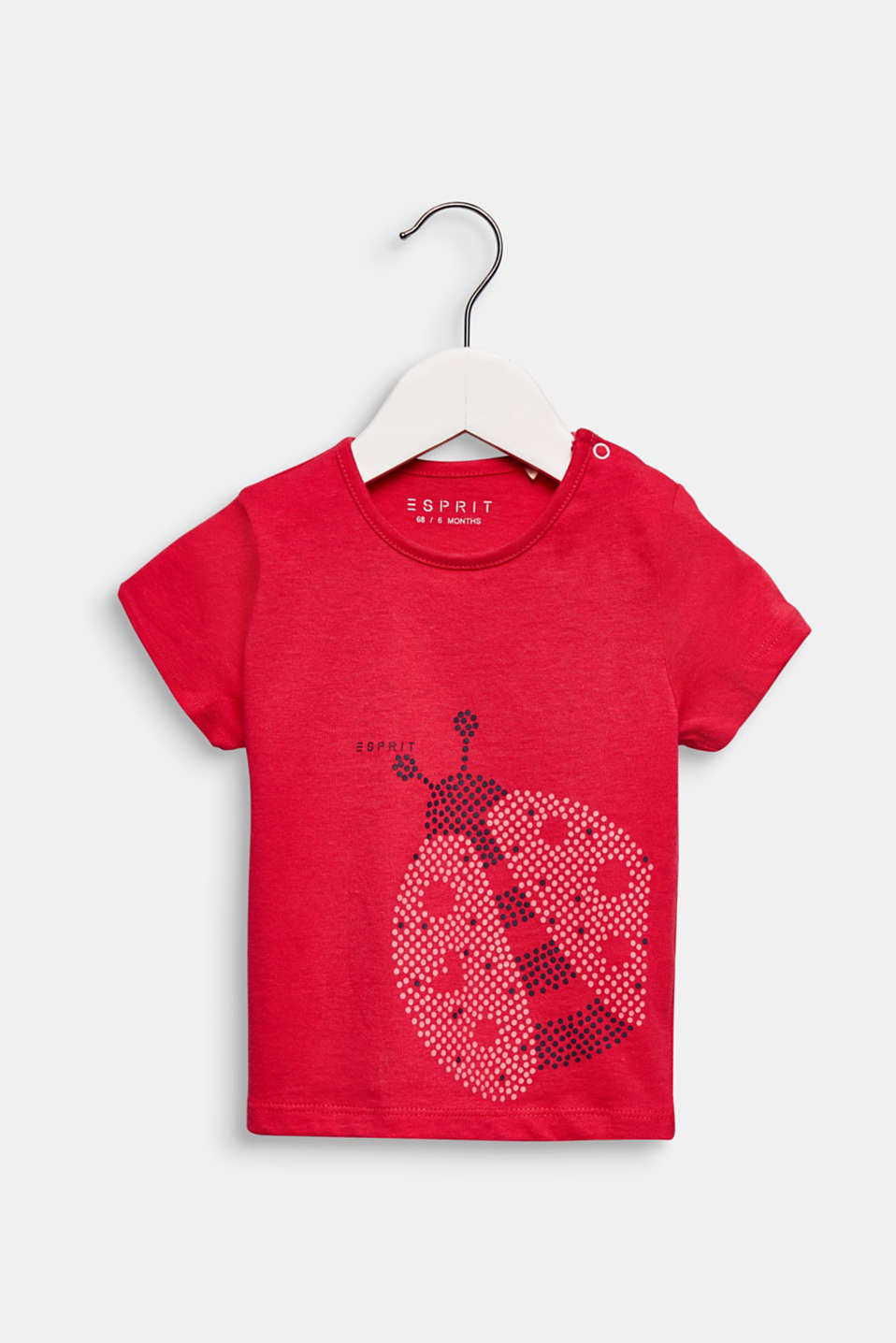 T-shirt with ladybird print, 100% cotton, LCRASPBERRY, detail image number 0