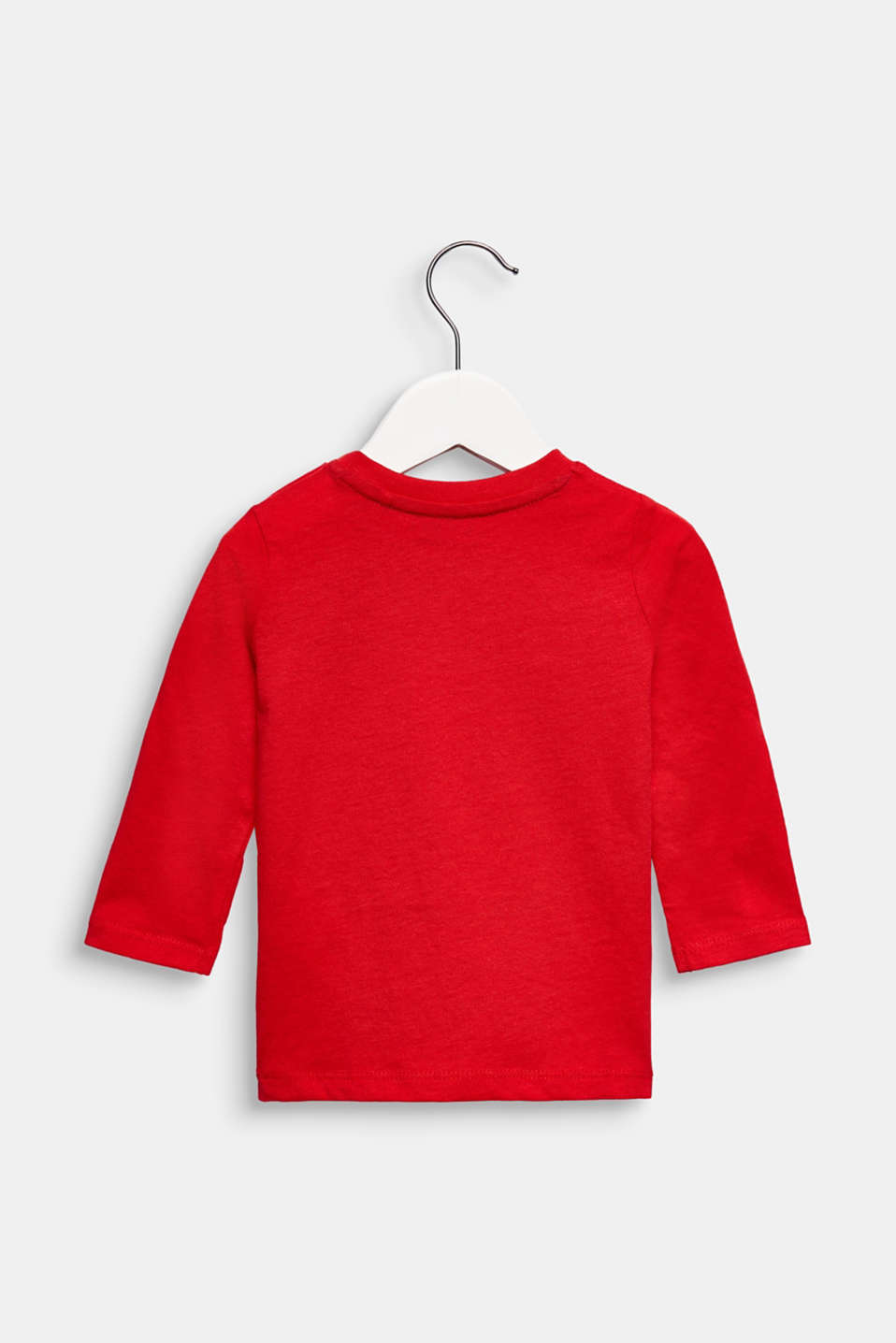 Printed long sleeve top, 100% cotton, LCRED, detail image number 1
