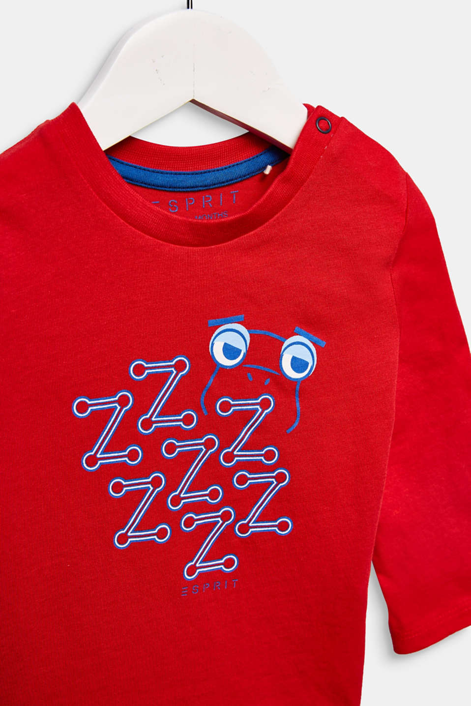 Printed long sleeve top, 100% cotton, LCRED, detail image number 2
