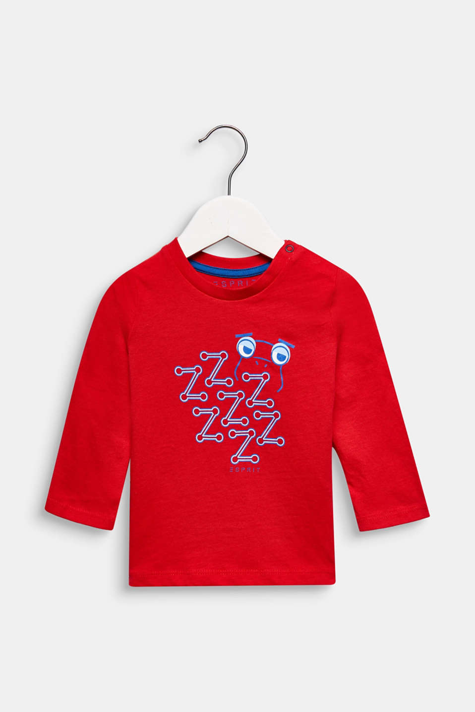 Printed long sleeve top, 100% cotton, LCRED, detail image number 0