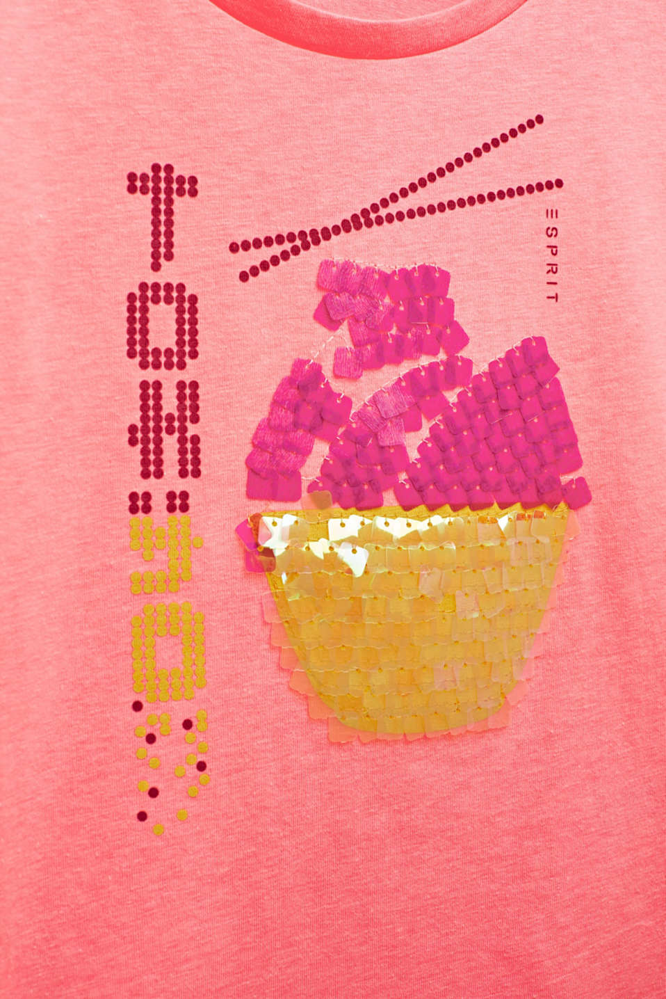 Printed long sleeve jumper with sequins, NEON PINK, detail image number 2