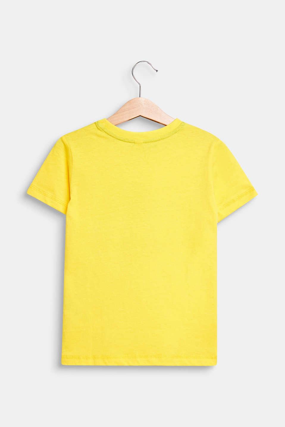 T-shirt with a shiny print, 100% cotton, LEMON, detail image number 1