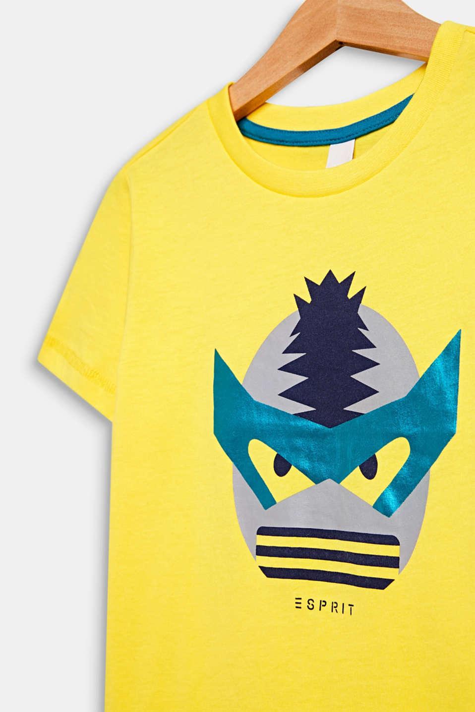 T-shirt with a shiny print, 100% cotton, LEMON, detail image number 2