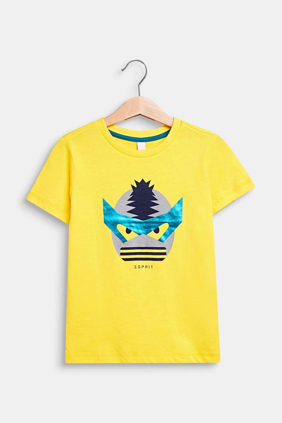 T-shirt with a shiny print, 100% cotton, LEMON, detail image number 0