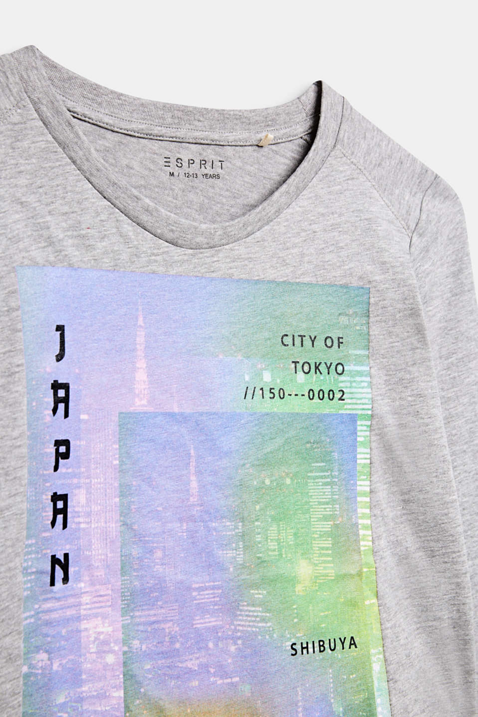 Long sleeve top with a colourful photo print, LCMID HEATHER GR, detail image number 2