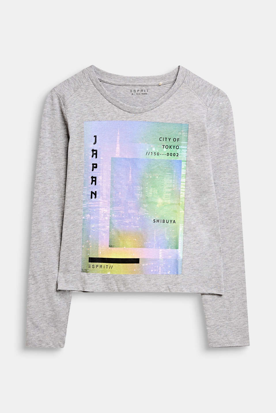 Long sleeve top with a colourful photo print, LCMID HEATHER GR, detail image number 0