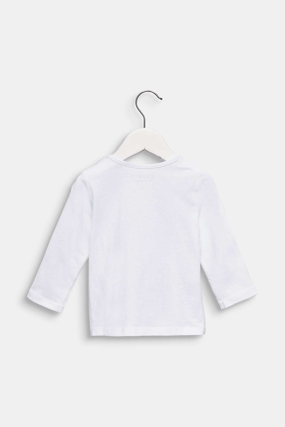 Printed long sleeve top, 100% cotton, LCWHITE, detail image number 1