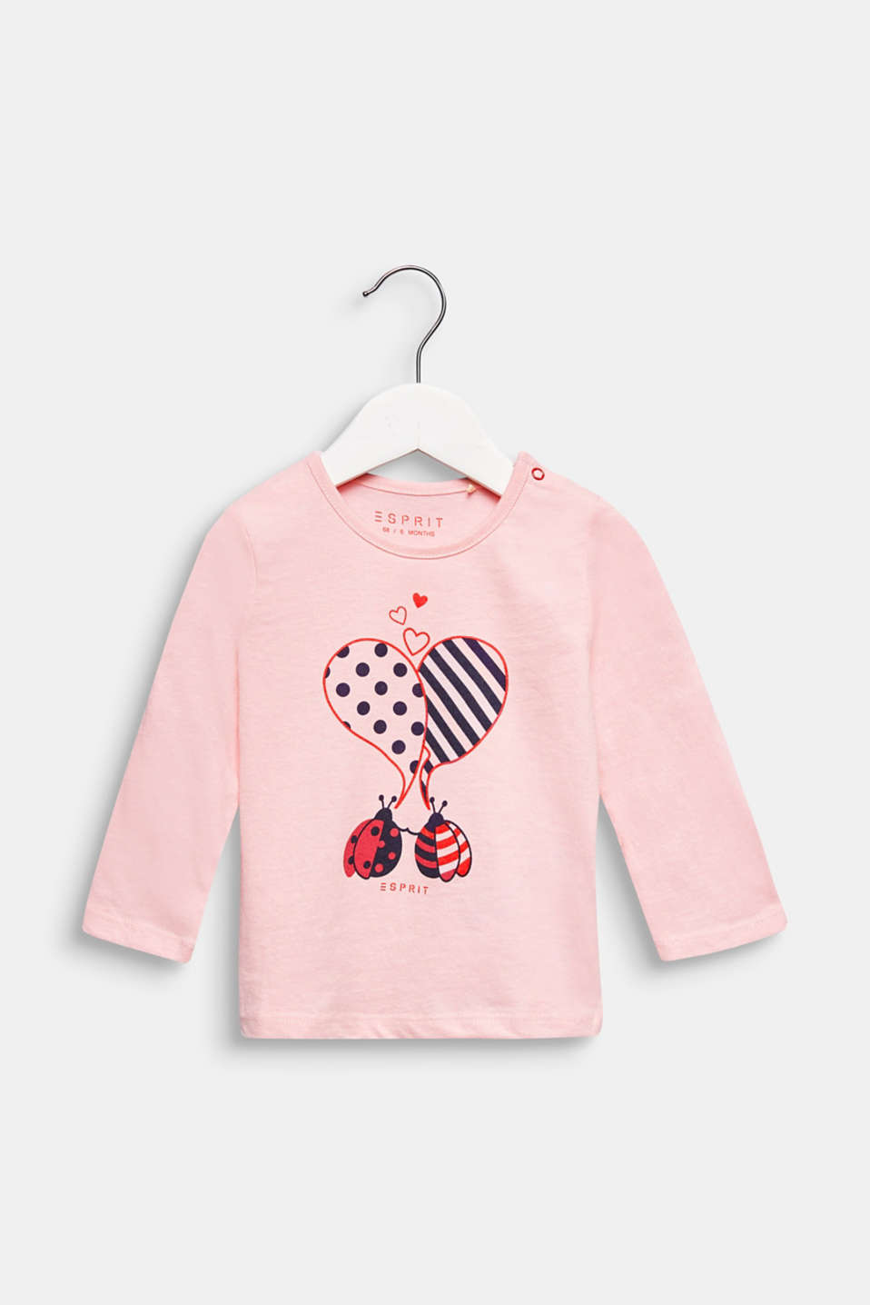 Printed long sleeve top, 100% cotton, LCLIGHT PINK, detail image number 0