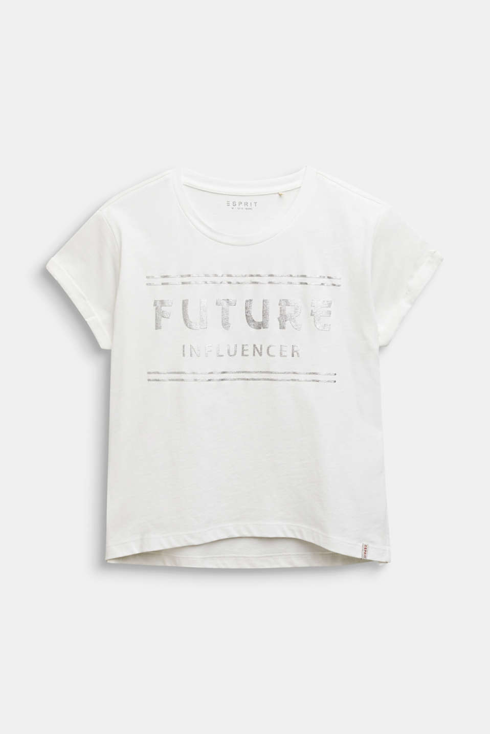 Boxy T-shirt with a shiny print, LCOFF WHITE, detail image number 0