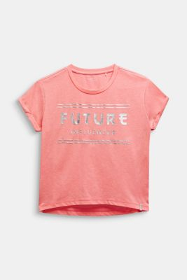 Boxy T-shirt with a shiny print, LCNEON PINK, detail
