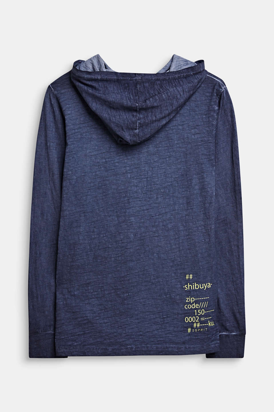 Hooded long sleeve top with a casual dye effect, LCMIDNIGHT BLUE, detail image number 1