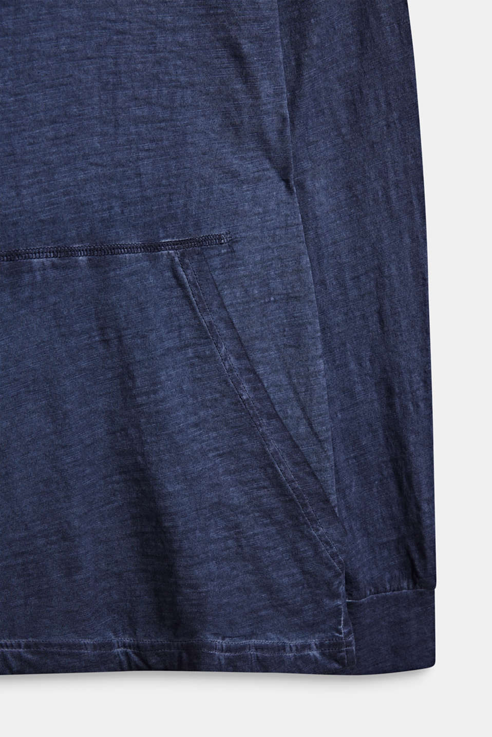 Hooded long sleeve top with a casual dye effect, LCMIDNIGHT BLUE, detail image number 2