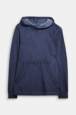 Hooded long sleeve top with a casual dye effect, LCMIDNIGHT BLUE, detail