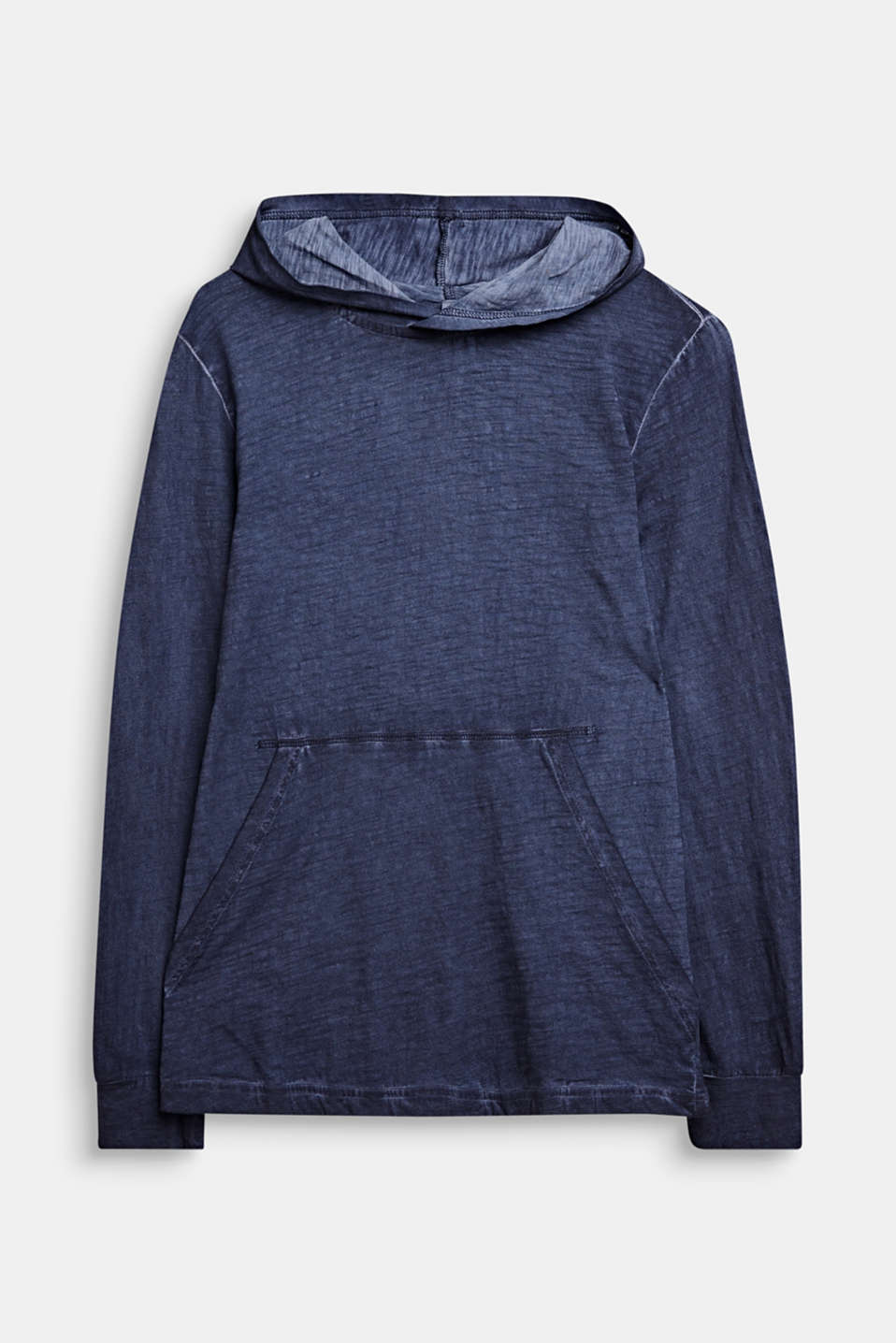 Hooded long sleeve top with a casual dye effect