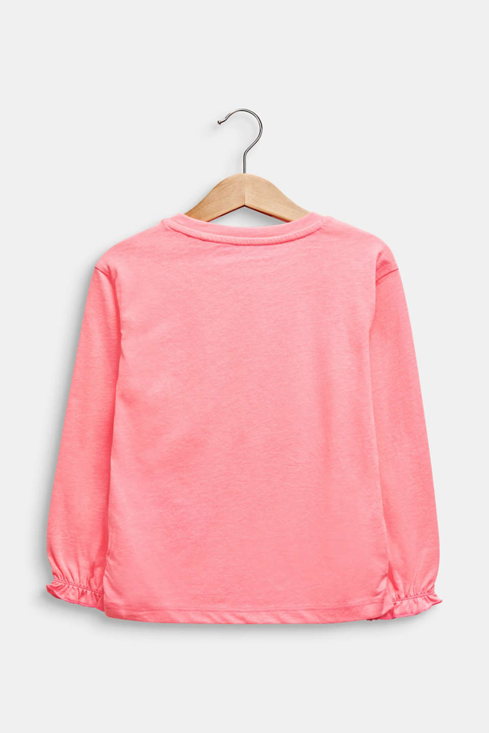 Neon long sleeve top with a glitter print, NEON PINK, detail image number 1