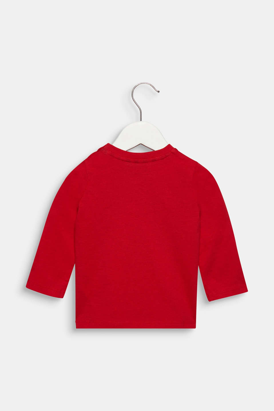 Long sleeve top with a breast pocket and print, cotton, LCRED, detail image number 1