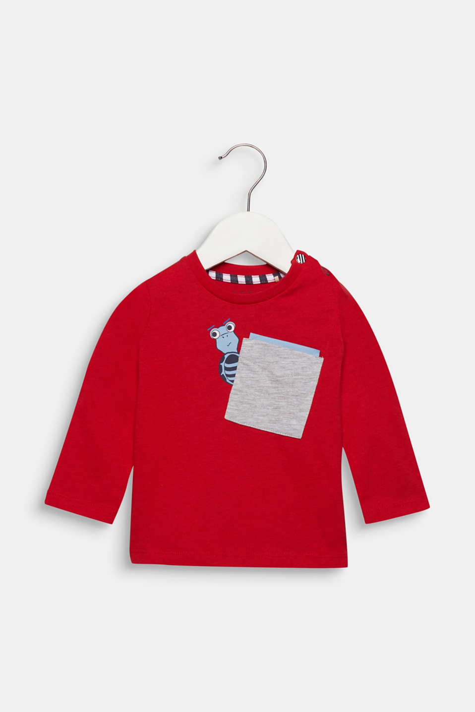 Long sleeve top with a breast pocket and print, cotton, LCRED, detail image number 0