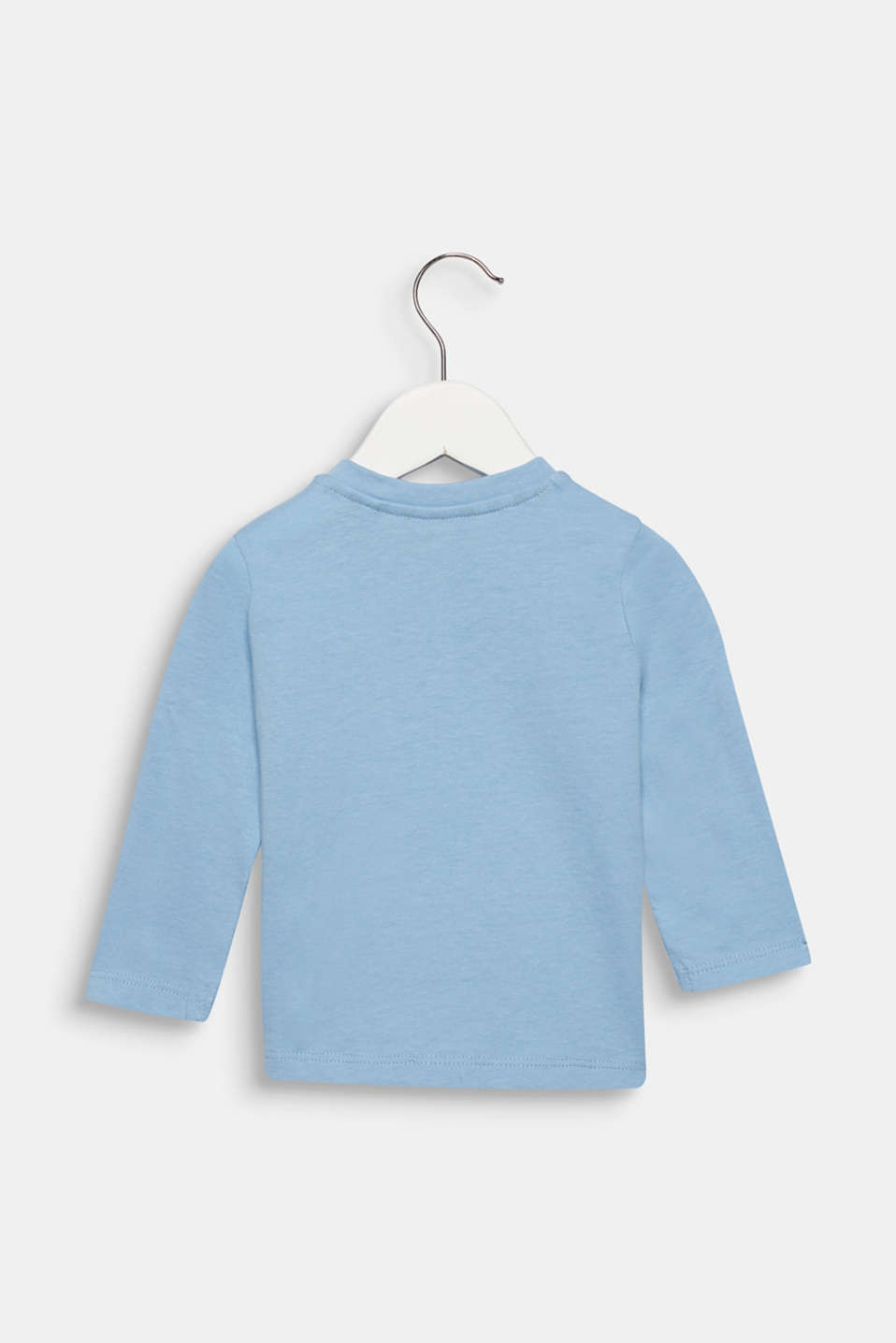 Long sleeve top with a breast pocket and print, cotton, LCLIGHT BLUE, detail image number 1