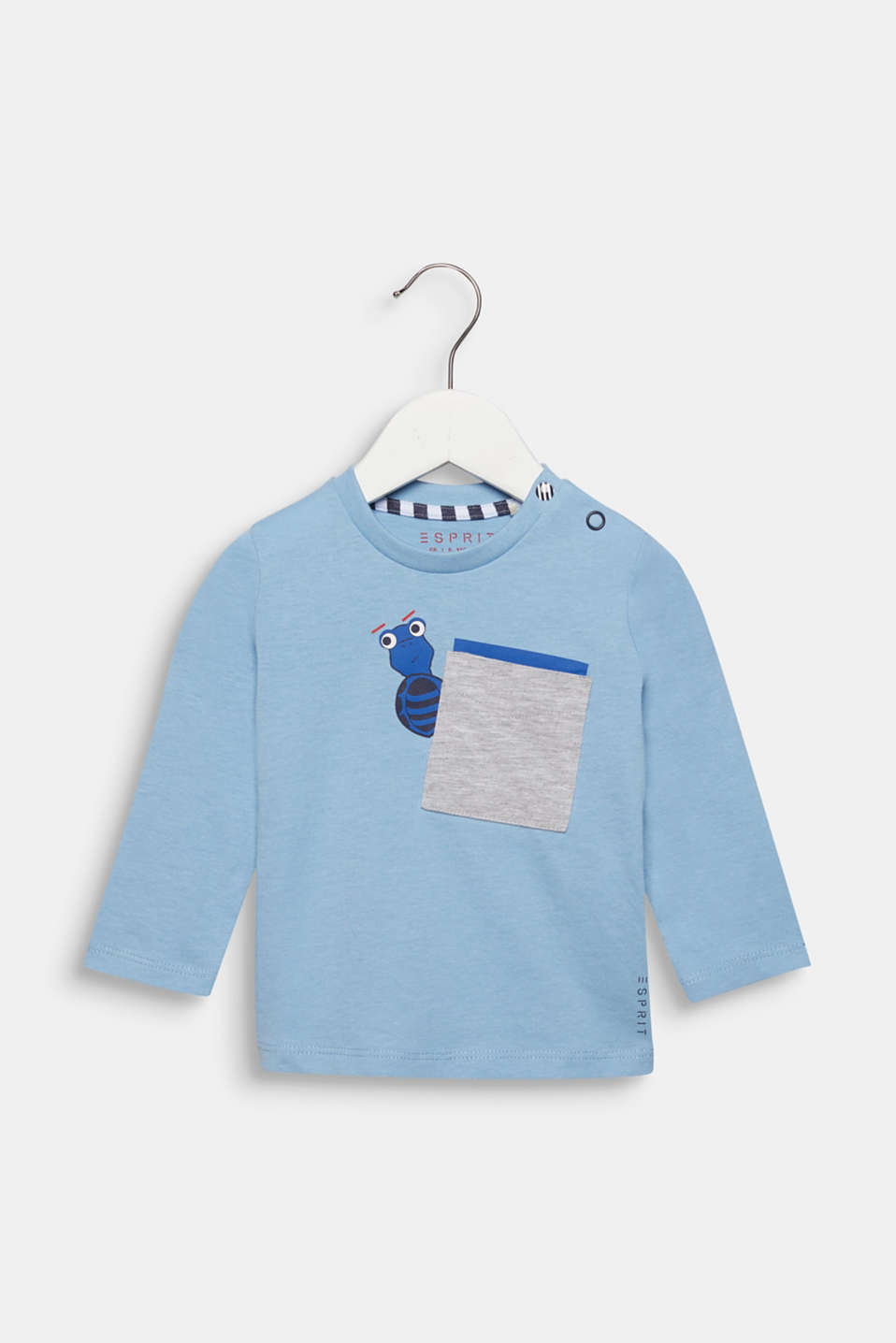 Long sleeve top with a breast pocket and print, cotton, LCLIGHT BLUE, detail image number 0